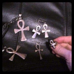 Egyptian ankh jewelry bundle necklace earrings